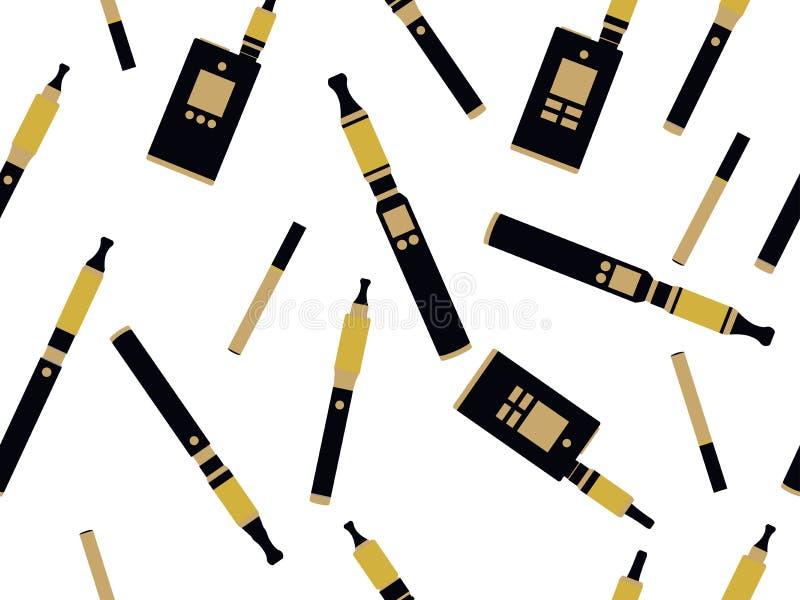 Электронные сигареты безшовная картина, картина e-сигареты безшовная, куря электронная сигарета, картина сигареты безшовная иллюстрация вектора