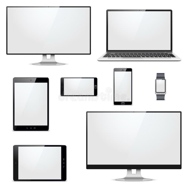 Электронные устройства вектора современные иллюстрация штока