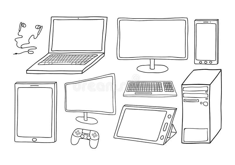 Электронные устройства включая компьютер, компьтер-книжку, умный телефон, таблетки, клавиатуру, игры регулятор и телефоны уха Зап иллюстрация штока