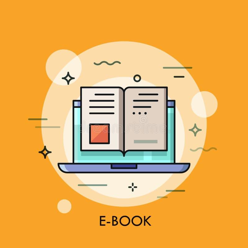 Электронный значок книги, цифровая концепция чтения бесплатная иллюстрация