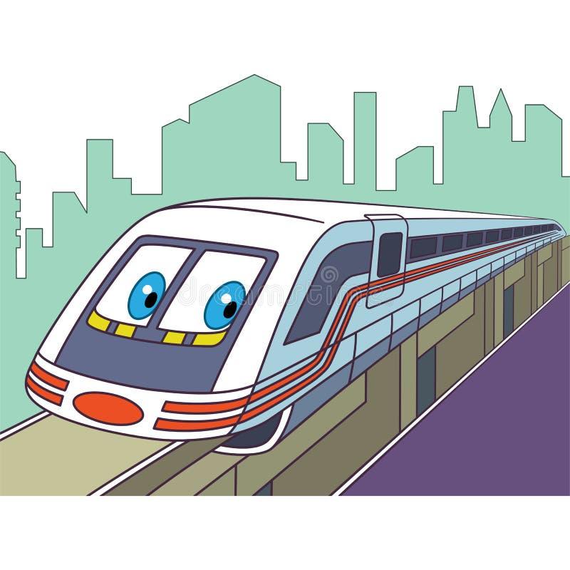 Электропоезд шаржа иллюстрация штока