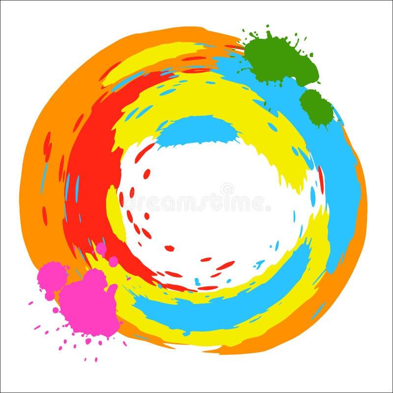 Элемента дизайна вектора чернила круглого яркие покрашенные брызгают бесплатная иллюстрация