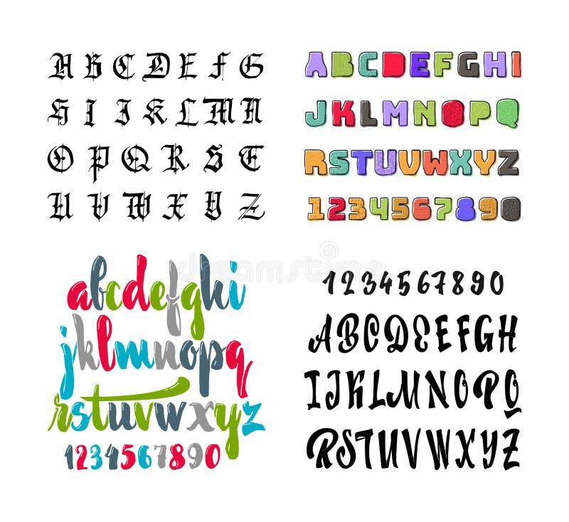 элементы алфавита scrapbooking вектор Покрашенные готический, щетка, прямой, и тушь, с текстурой Литерность руки для дизайнов - л бесплатная иллюстрация