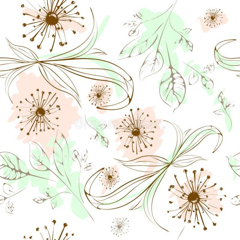 Элементы безшовной картины флористические бесплатная иллюстрация