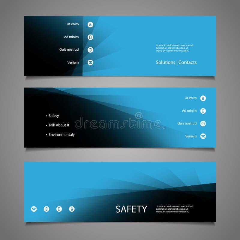 Элементы веб-дизайна - абстрактные голубые дизайны заголовка иллюстрация вектора