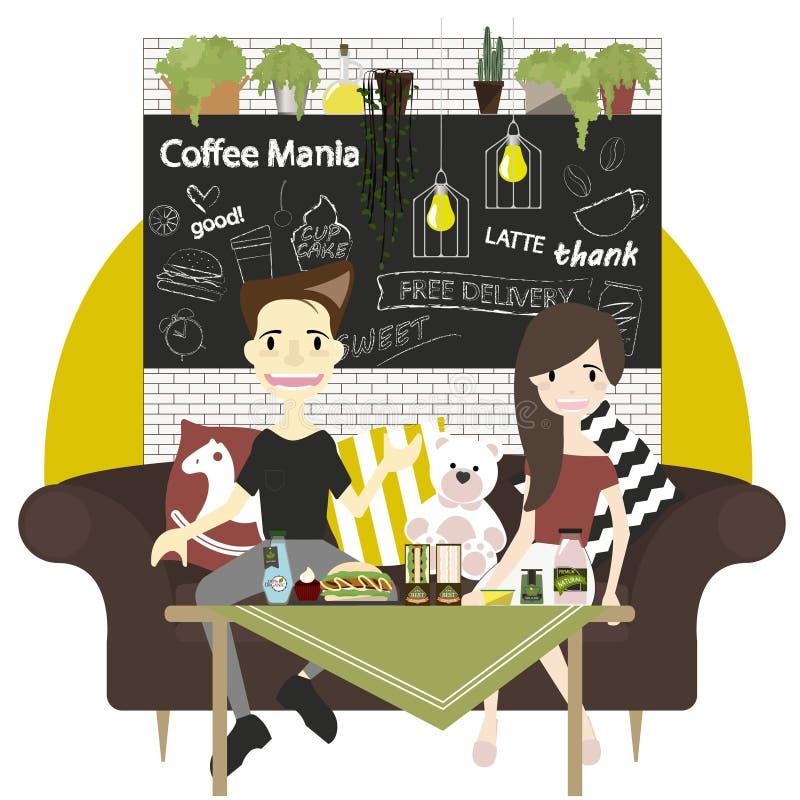 Элементы вектора кофейни infographic с мебелью иллюстрация штока