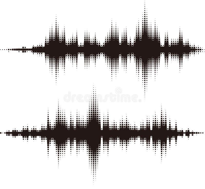 Элементы вектора полутонового изображения квадратные. Звуковые войны вектора иллюстрация вектора