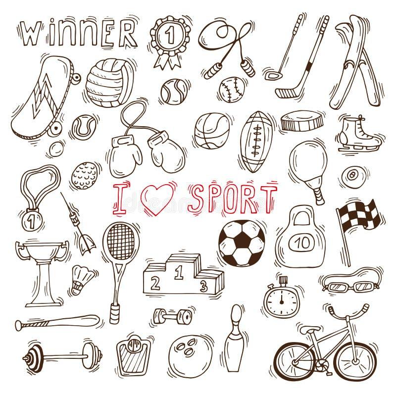 Элементы вектора фитнеса и спорта Нарисованные рукой значки doodle спорта иллюстрация штока