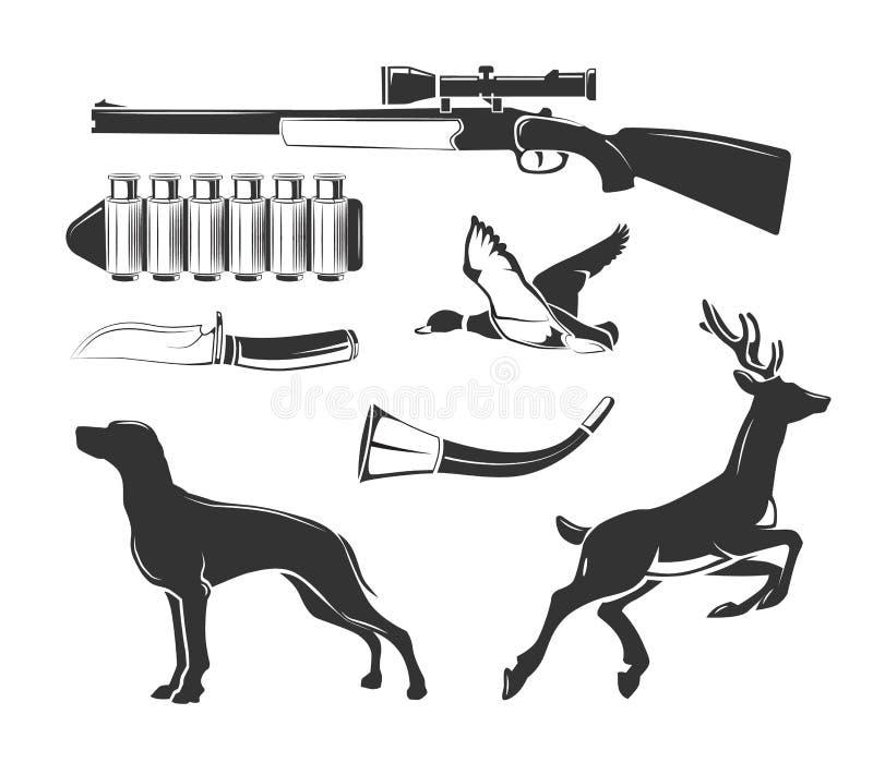 Элементы вектора для винтажных ярлыков клуба звероловства иллюстрация вектора