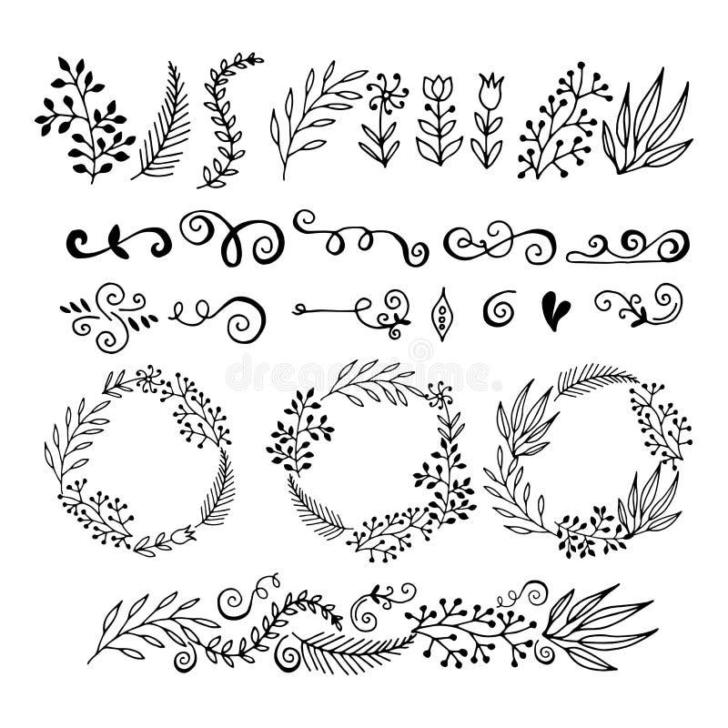 Элементы графического дизайна собрания флористические иллюстрация вектора