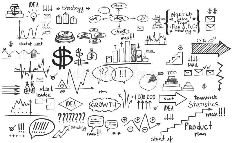 Элементы дела финансов Doodle иллюстрация вектора