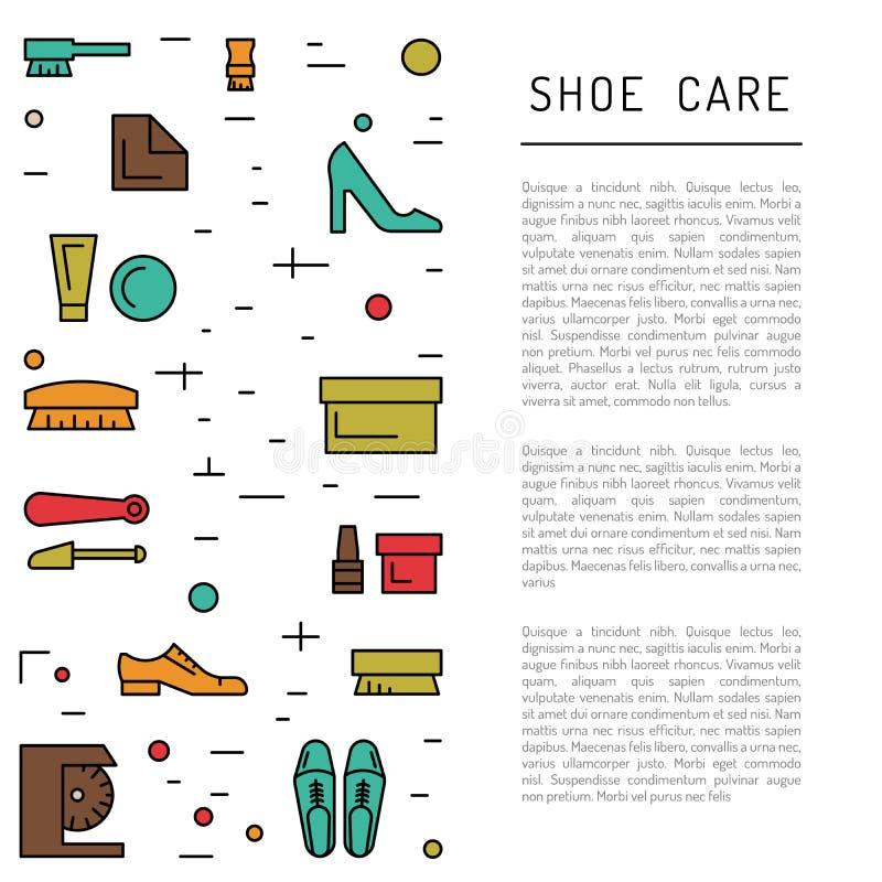 Элементы заботы ботинка иллюстрация вектора
