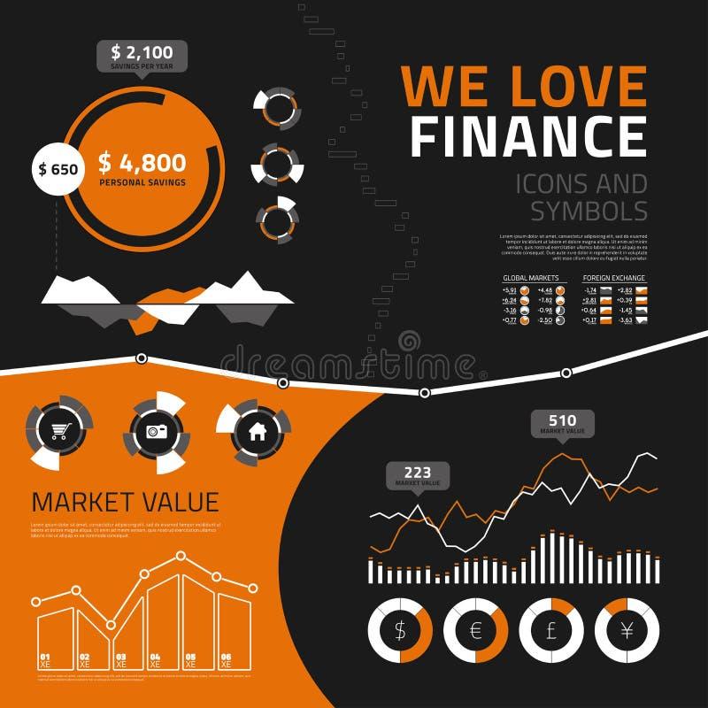 Элементы, значки и символы финансов infographic бесплатная иллюстрация