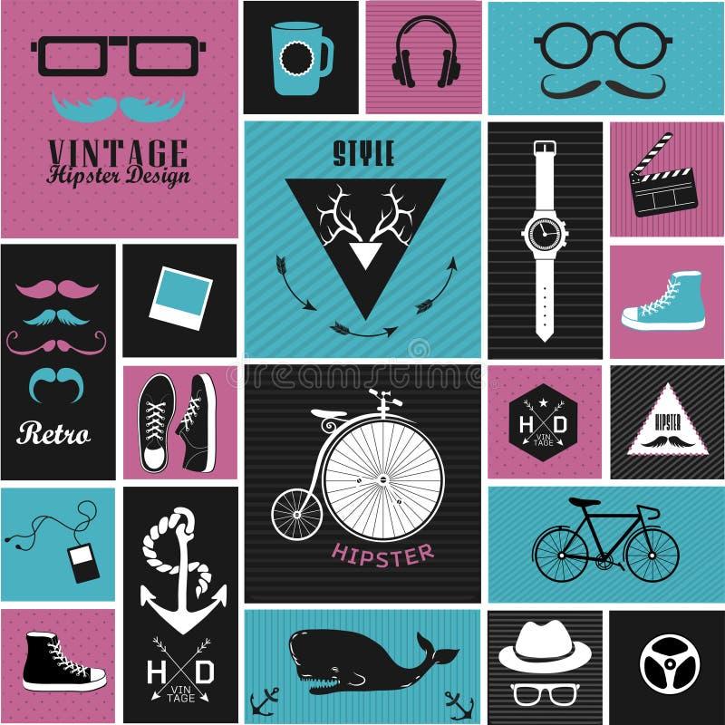 Элементы, значки и ярлыки стиля битника иллюстрация штока