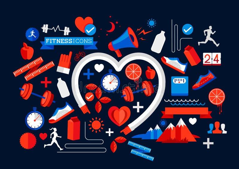 Элементы здоровья и фитнеса иллюстрация штока