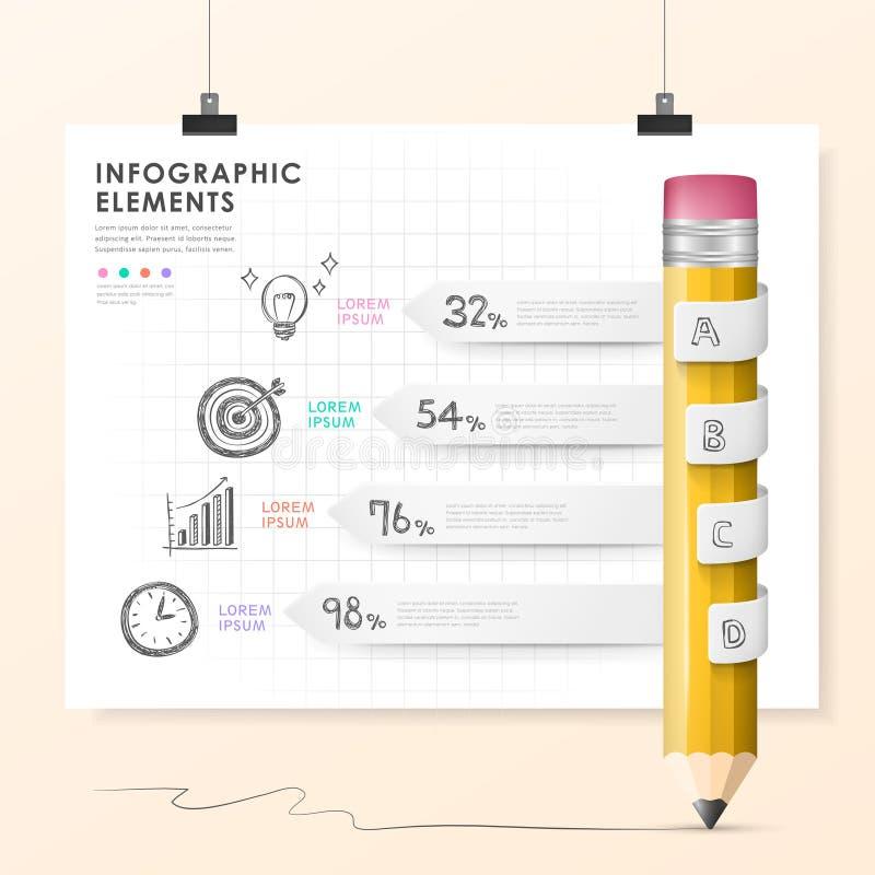 Элементы диаграммы в виде вертикальных полос карандаша вектора infographic иллюстрация вектора