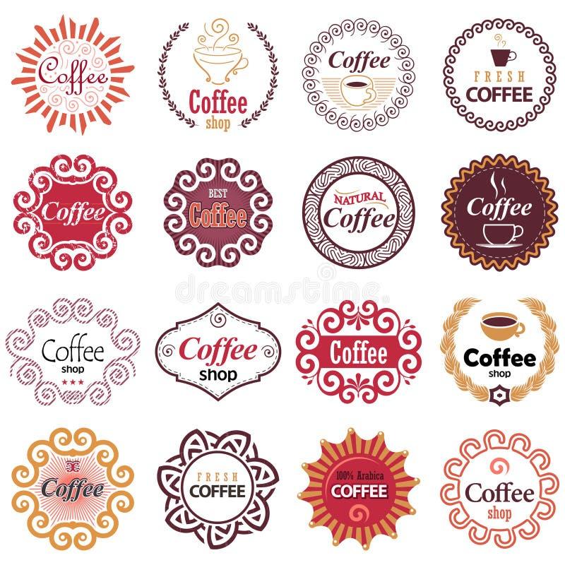 Элементы дизайна вектора кофейни в винтажном стиле иллюстрация вектора