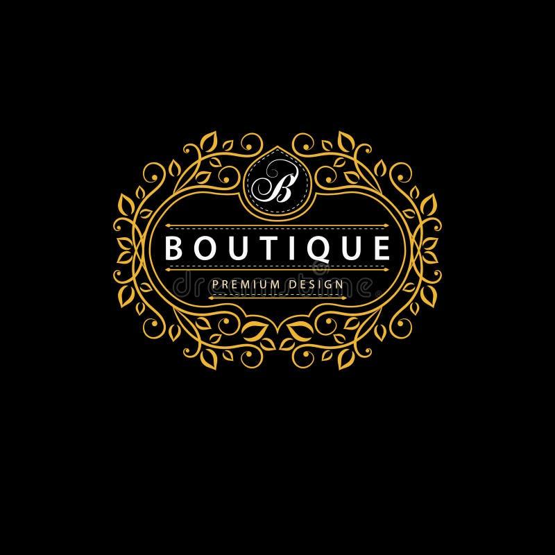 Элементы дизайна вензеля, грациозно шаблон Элегантная линия дизайн логотипа искусства Знак дела, идентичность для ресторана, коро иллюстрация штока