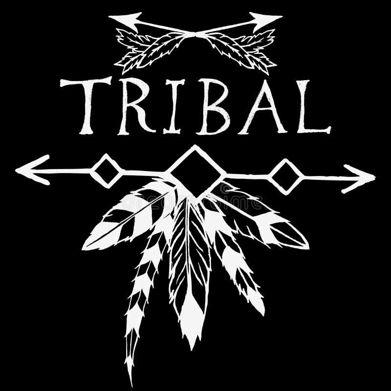 Элементы дизайна в племенном стиле иллюстрация штока
