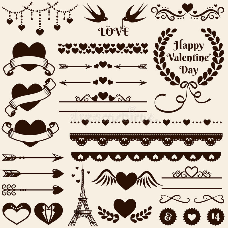 Элементы дизайна влюбленности, романс и свадьбы вектор комплекта сердец шаржа приполюсный бесплатная иллюстрация