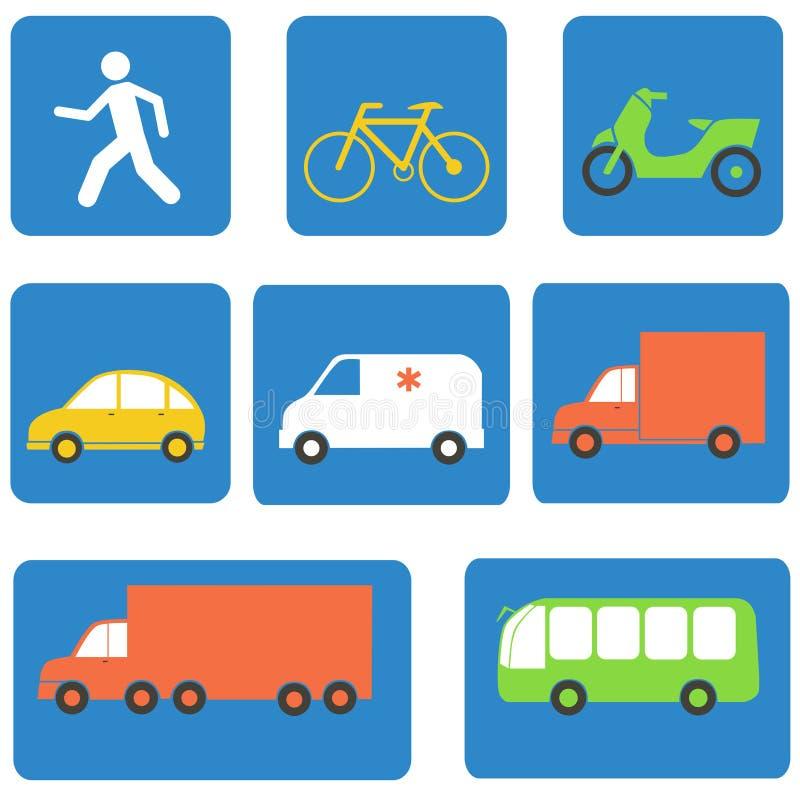 Элементы дизайна значков транспорта вектор бесплатная иллюстрация