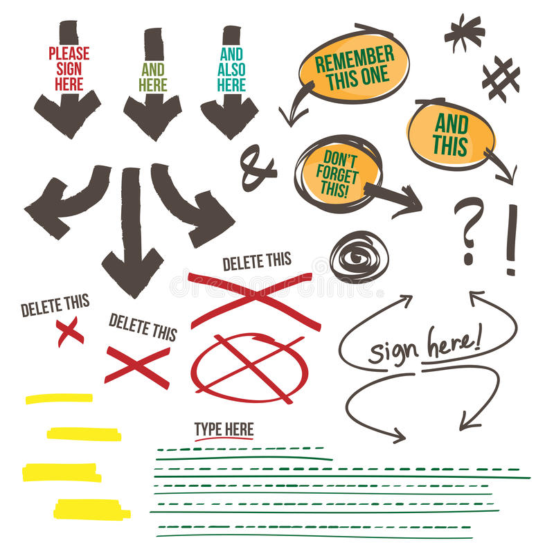 Элементы дизайна напоминания документа знака иллюстрация штока