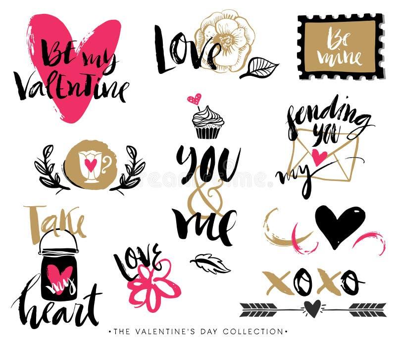 Элементы дизайна дня валентинок нарисованные рукой с каллиграфией иллюстрация вектора