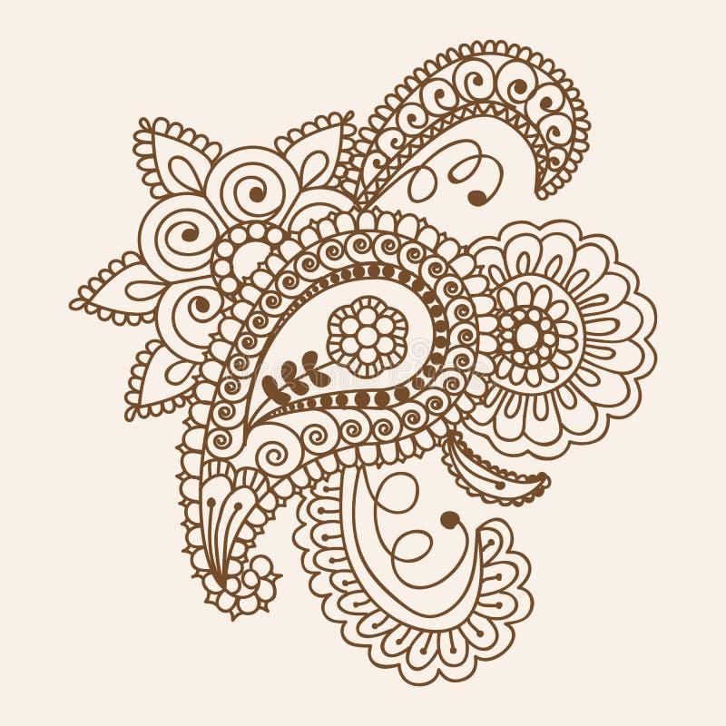 Элементы дизайна Пейсли конспекта Doodles Mehndi хны флористические, мамы стоковое фото