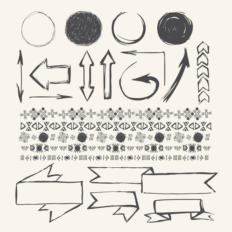 Элементы дизайна притяжки руки Искусство вектора притяжки руки иллюстрация штока