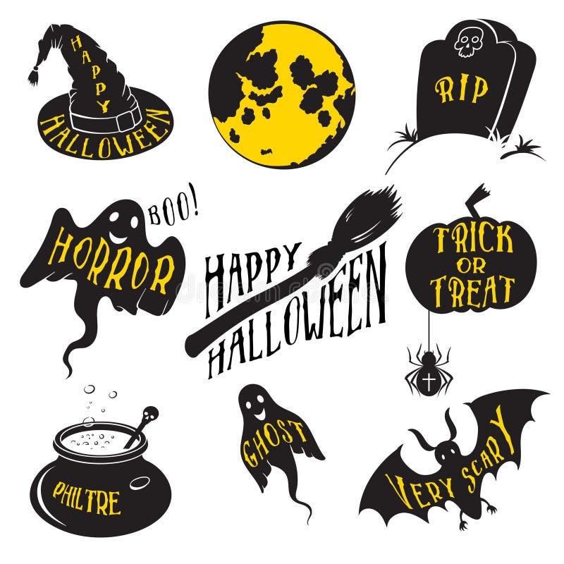 Элементы дизайна собраний дня хеллоуина иллюстрация штока