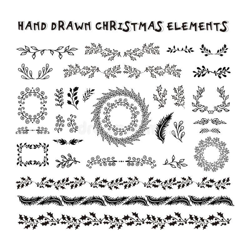 Элементы дизайна собрания вектора нарисованные рукой иллюстрация штока