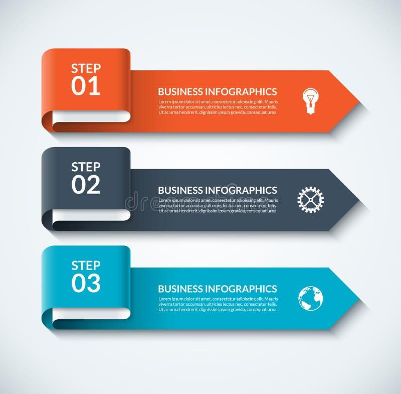 Элементы дизайна стрелки для infographics дела Шаблон Minimalistic с 3 вариантами иллюстрация штока