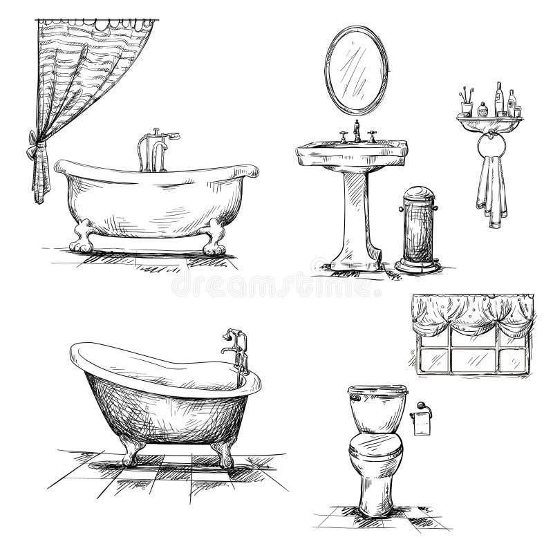 Элементы интерьера ванной комнаты. нарисованная рука. Ванна, t иллюстрация вектора