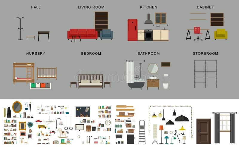 Элементы интерьера мебели иллюстрация вектора