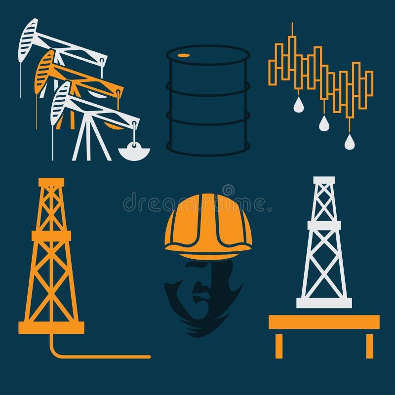 элементы индустрии и символ падения и подъем цен на нефть иллюстрация штока