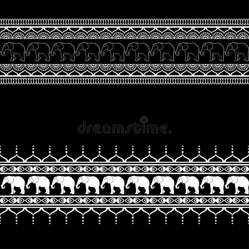 Элементы картины границы Mehndi при слоны и линия цветка шнуруют в индийском стиле изолированная на черной предпосылке бесплатная иллюстрация