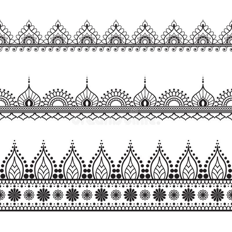 Элементы картины границы Seamles с цветками и линии шнурка в индийском стиле mehndi изолированные на белой предпосылке иллюстрация штока