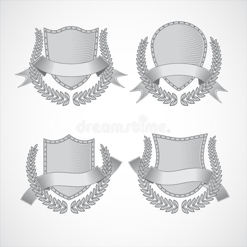 элементы конструкции предпосылки 4 снежинки белой Комплект вектора экранов с лавром бесплатная иллюстрация