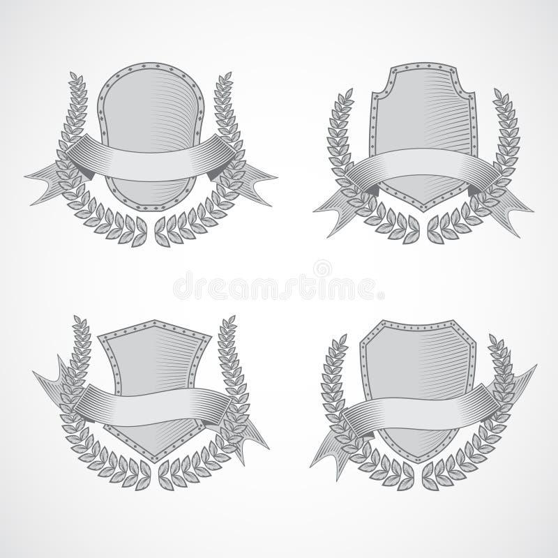 элементы конструкции предпосылки 4 снежинки белой Комплект вектора экранов с лавром иллюстрация штока