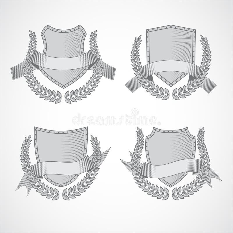 элементы конструкции предпосылки 4 снежинки белой Комплект вектора экранов с лавром иллюстрация вектора