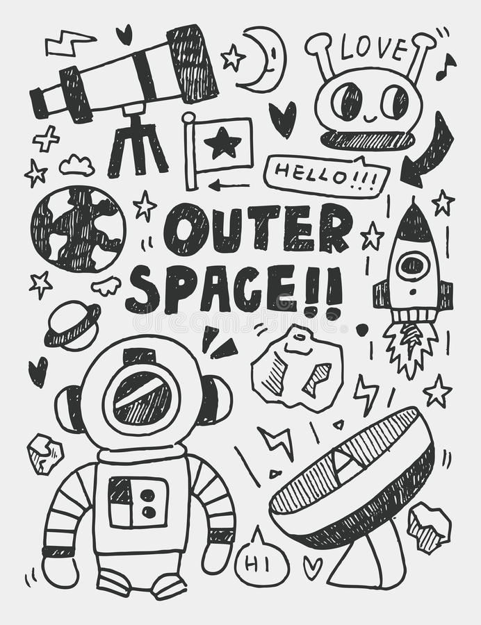 Элементы космоса doodles линия нарисованная рукой значок, eps10 иллюстрация вектора