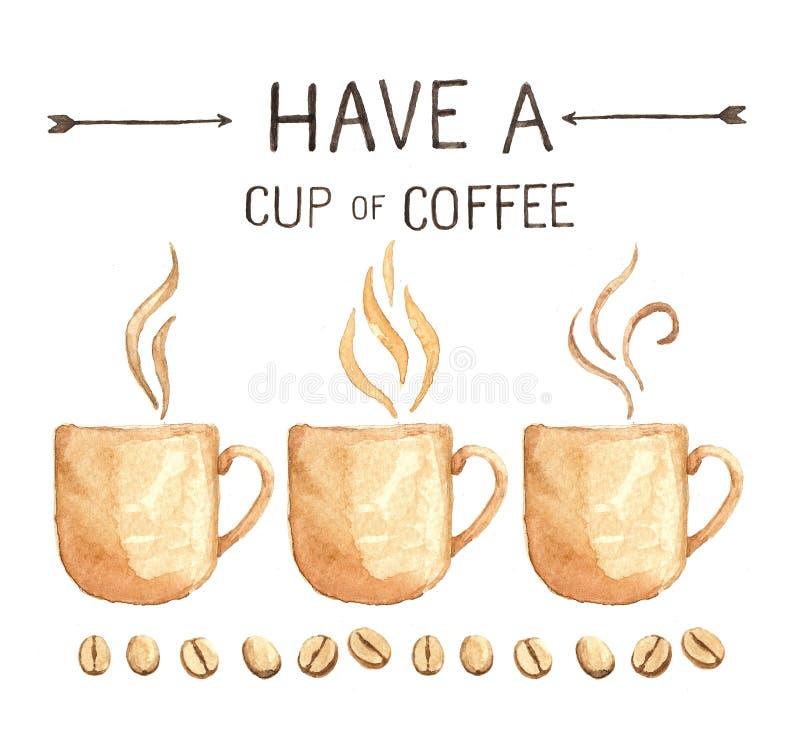 Элементы кофе, разрешение краски акварели высокое бесплатная иллюстрация