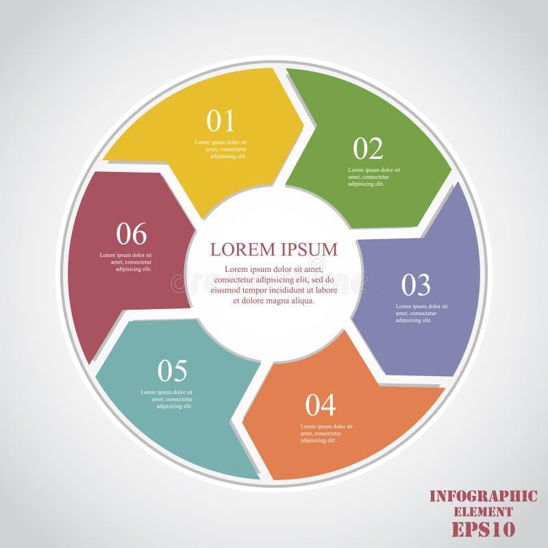 Элементы круга для infographic Концепция дела с 6 вариантами, частями, шагами или процессами иллюстрация штока