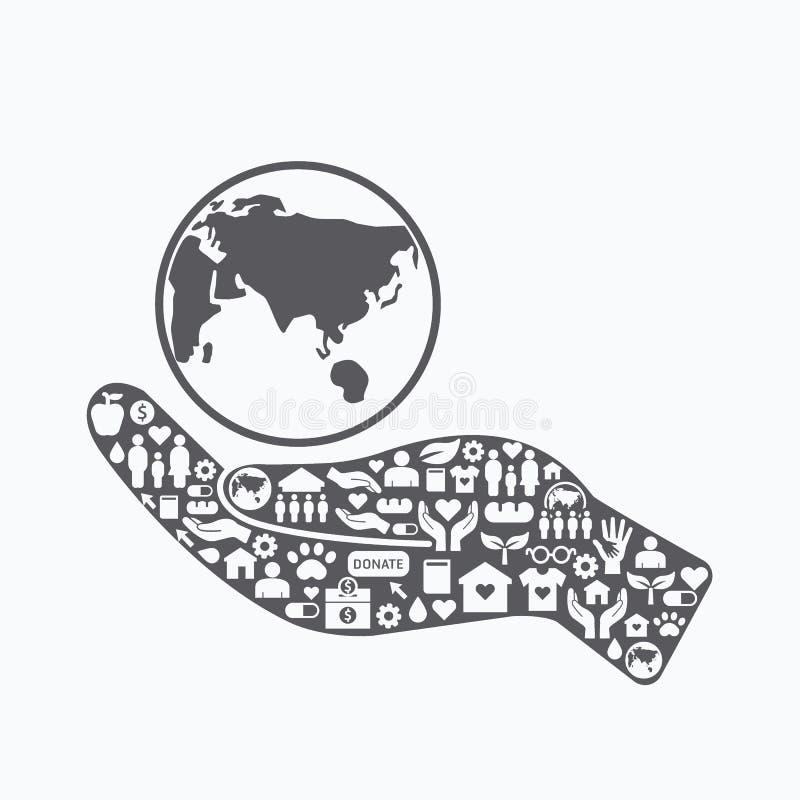Элементы малые призрение и пожертвование значков на руке силуэта бесплатная иллюстрация