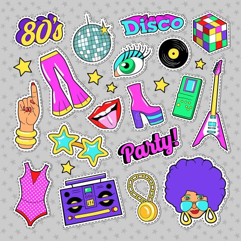 Элементы моды партии диско ретро с гитарой, губами и звездами для стикеров, заплат, значков иллюстрация штока
