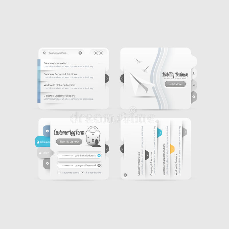 Элементы навигации меню дизайна вебсайта дела при установленные значки стоковая фотография
