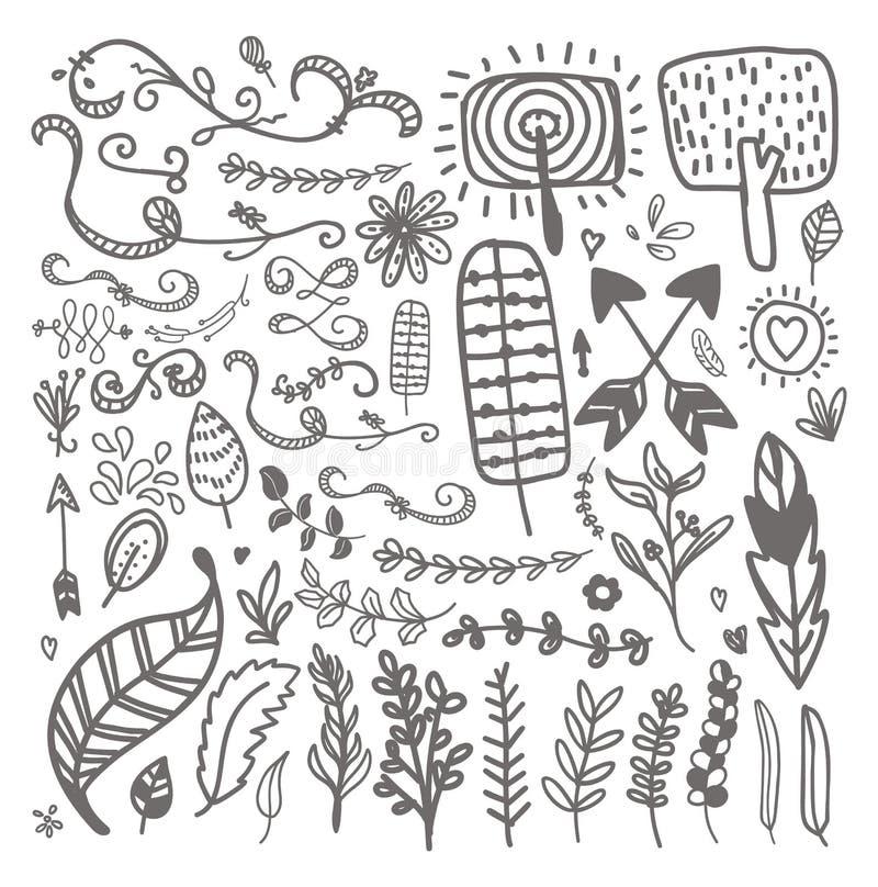 Элементы нарисованные рукой винтажные флористические Комплект цветков, стрелок, значка иллюстрация штока