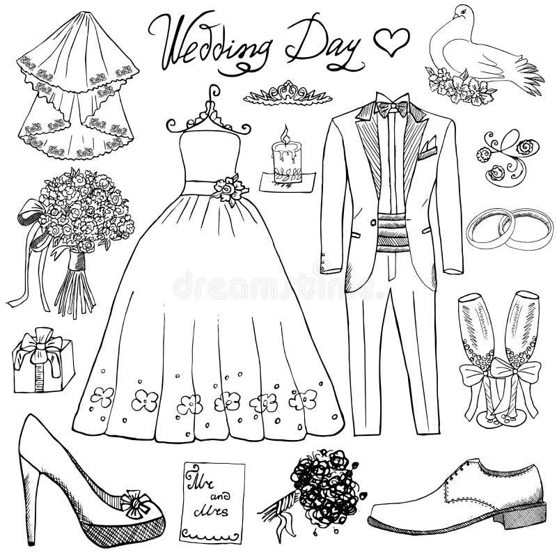 Элементы дня свадьбы Комплект нарисованный рукой с костюмом платья и смокинга невесты свечи цветков, ботинками, стеклами для Шамп бесплатная иллюстрация