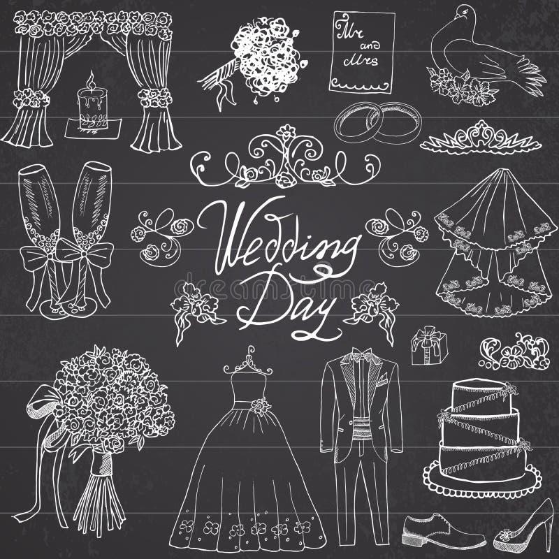 Элементы дня свадьбы Комплект нарисованный рукой с костюмом платья и смокинга невесты свечи цветков, ботинками, стеклами для Шамп иллюстрация штока