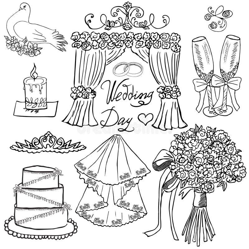 Элементы дня свадьбы Комплект нарисованный рукой с цветками, свечой, стеклами для Шампаря и праздничными атрибутами Рисуя собрани иллюстрация вектора